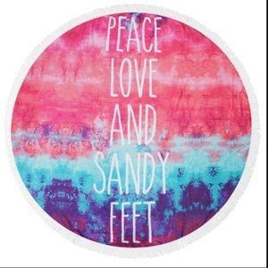 Peace Love Sandy Feet Round Beach Towel